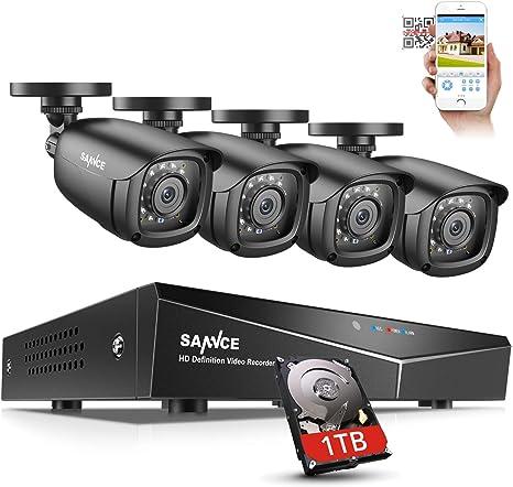 Sistema de cámara de seguridad SANNCE 8CH 1080N DVR con disco duro ...