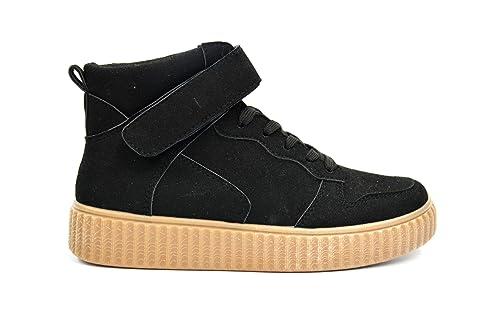 Daim Uni Montantes Semelle Tissu Avec Effet Shy34Baskets Sneakers KT3culF1J
