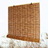 Bamboo Roll Up Shade, Reed Roller Blinds Curtain, Sunshade/Eco/Waterproof, for Indoor, Outdoor, Kitchen, Patio, with…