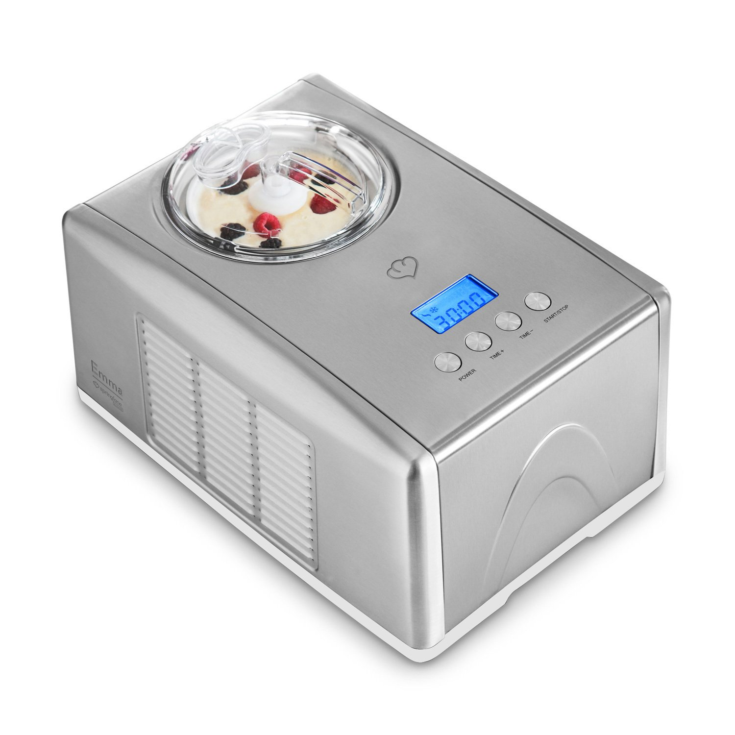 Ice-Cream Maker Emma (150 W) with Built-in Compressor by Springlane Kitchen 1.5 L Premium Ice Cream Machine, Stainless Steel, Removable Ice Cream Container, No Pre-Freezing, LCD Display