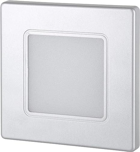 Foco LED empotrable de pared de 230 V, cuadrado, plateado, para caja de interruptor de 60 mm, transformador LED integrado, blanco cálido (3000 K): Amazon.es: Iluminación