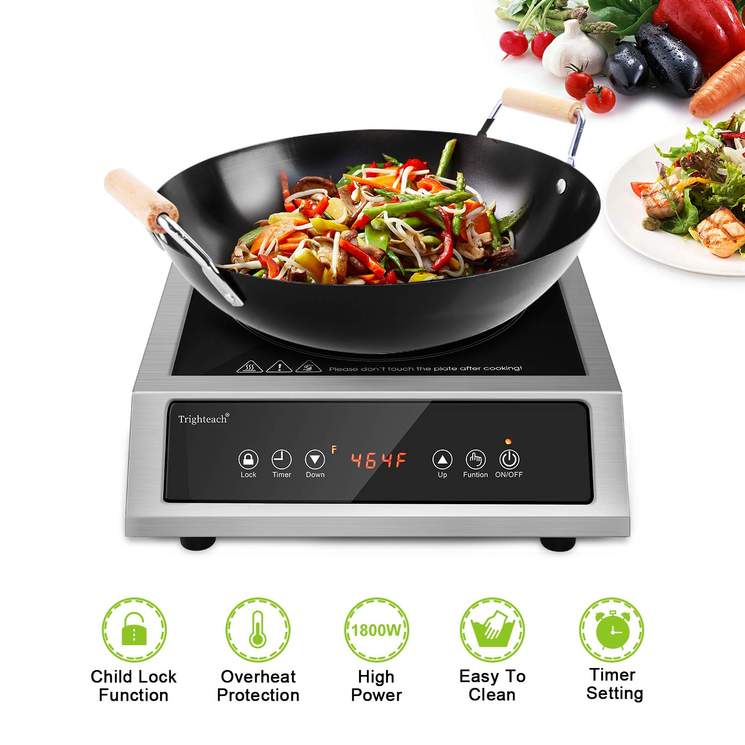 Trighteach Professional Portable Induction Cooktop, 1800W Single Countertop Burner, Commercial Powerful Electric Stove with Stainless Steel Shell, Greater Load-bearing Capacity