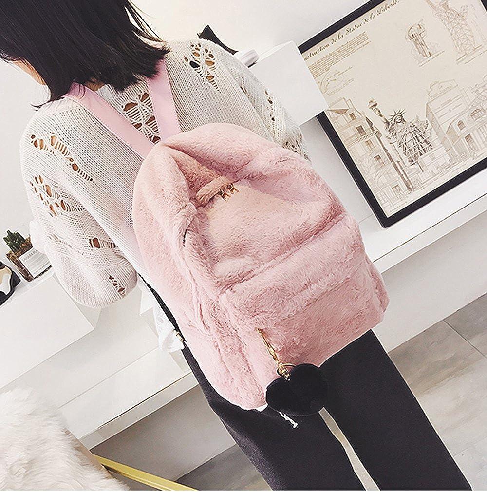Pink YSMYWM Women Soft Faux Fur Plush Backpack Shoulder Bag Fluffy School Bag with Heart Pendant