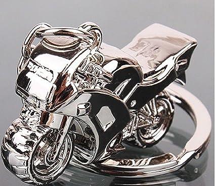 Sportigo/® Motocicleta con Casco de Motorista Llaveros en Plata//Motero Regalo