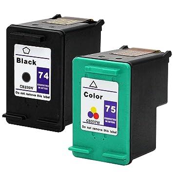 Amazon.com: ouguan 2 x (1 Negro, 1 Tri-color) de tinta para ...