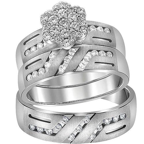 Jewels By Lux - Juego de anillos de boda de oro blanco de 14 ...