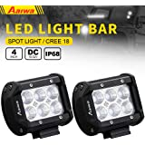 LED Lights Bars, Aaiwa LED Work Lights 4inch 18W CREE Flood LED Pods Driving Fog Lights for Off-road,Truck, Car, ATV, SUV, Jeep,Boat Light,5 years Warranty