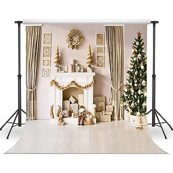Amazon.com : LYWYGG 10x10FT Vinyl Photography Backdrop Christmas ...