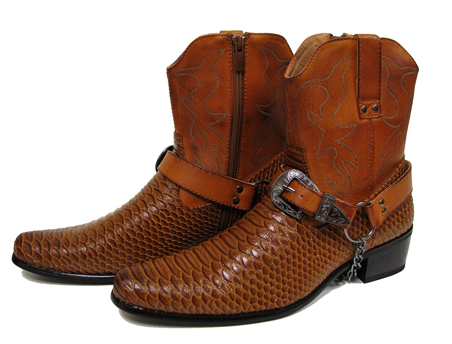 J-jap Men/'s Cowboy Boots Western Alligator Snake Skin Print Crocodile Zippper Buckle Harness Chain Ankle Shoes