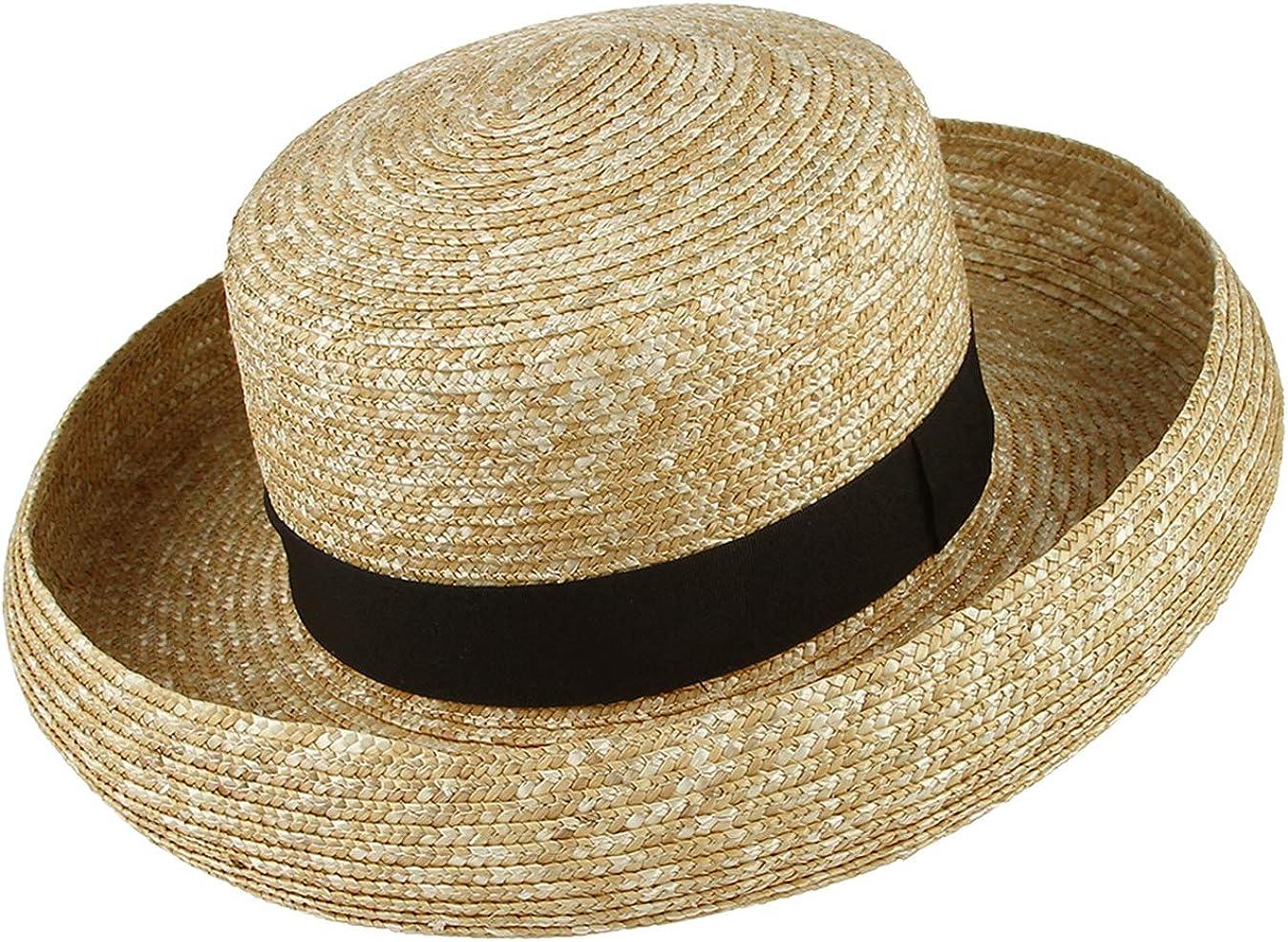 New Edwardian Style Men's Hats 1900-1920 Jelord Women Vintage Elegant Straw Sun Hat UV Protection Flat Top Roll Rim Panama Boater Hat Beach Sun Hat $15.39 AT vintagedancer.com