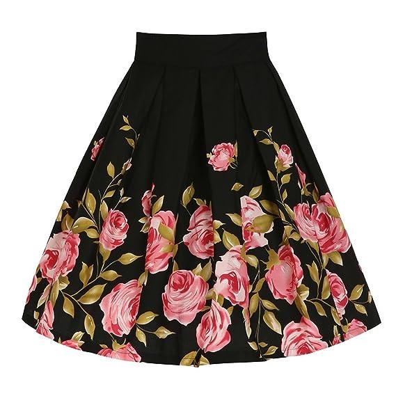 YiLianDa Para Mujer Vintage Floral Swing Full Circle Casual Falda ...
