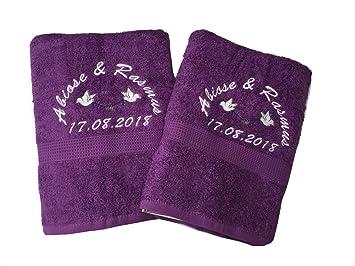 Personalizado Bordado Toalla de baño boda Set de regalo - Palomas, color negro: Amazon.es: Hogar
