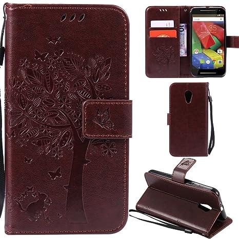 Ooboom® Funda para Moto G2 Flip Wallet Case Cover Carcasa Piel PU Billetera Soporte con Ranuras Tarjetas Cierre Magnético - Marrón