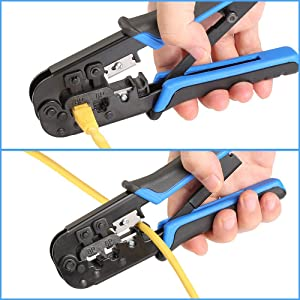 Hiija RJ45 Crimp Tool Cat5 Cat5e Cat6 Crimping Tool, RJ-11, 6P/RJ-12, 8P/RJ-45 Crimp, Cut and Strip Tool (Color: Blue+Black)