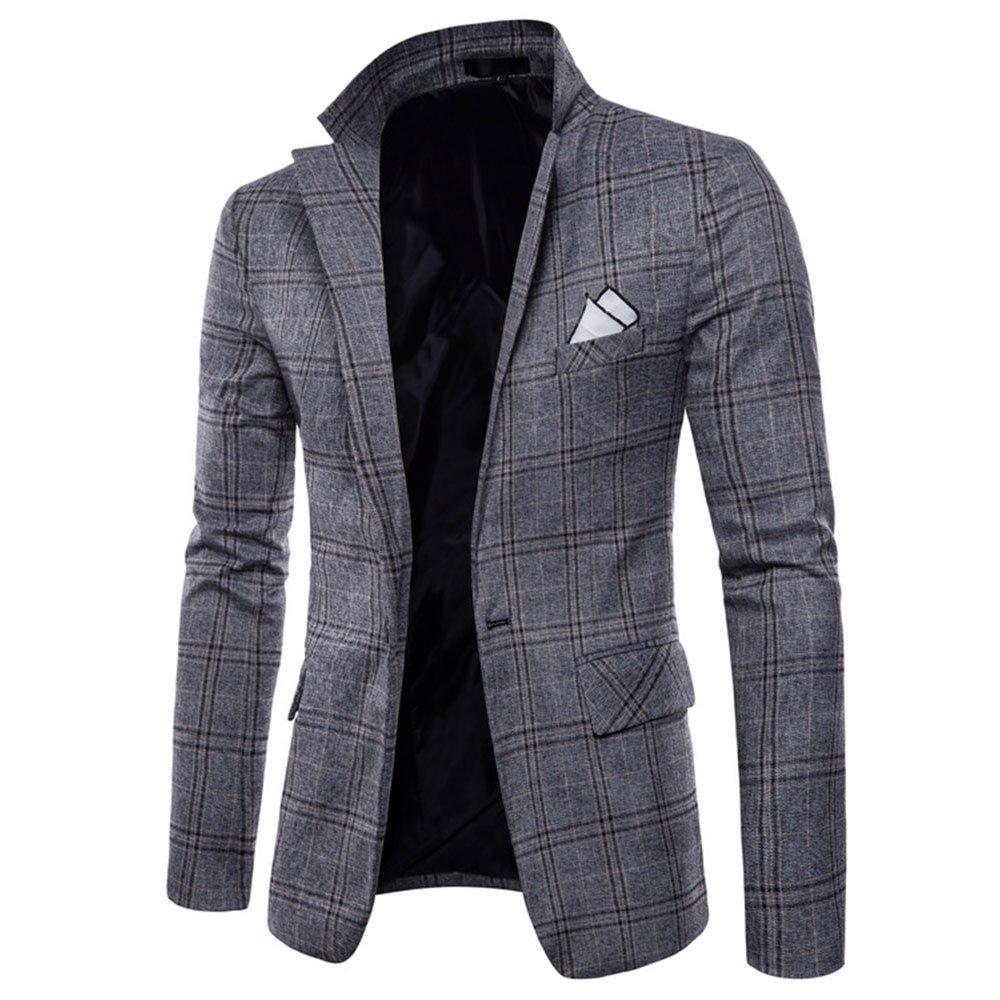 EVEDESIGN Mens One Button Plaid Suit Jacket Elegant Slim Fit Blazer Sport Coat