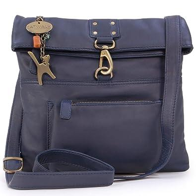 628e3da386946 Catwalk Collection Handbags – Damen Leder Umhängetasche   Handtasche    Messenger - DISPATCH - Dunkelgbleu