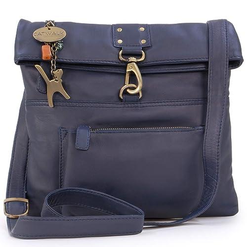 dd550664681 Catwalk Collection - DISPATCH - Bolso bandolera - Cuero - Oscuro Azul:  Amazon.es: Zapatos y complementos