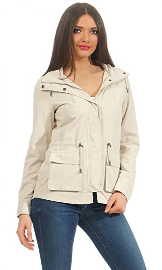 ONLY Women's Onlstarlight Spring Parka Jacket Cc OTW Parka Hooded Long  Sleeve Parka - Beige - 2e487d5ec83f
