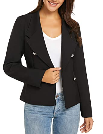 861398aab31 luvamia Women s Casual Long Sleeve Open Front Work Office Blazer Jacket  Black at Amazon Women s Clothing store