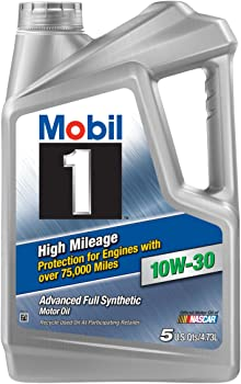 5 Quart Mobil 1 High Mileage Full Synthetic Motor Oil 10W-30