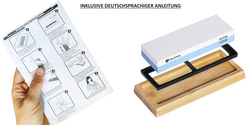 1000//6000 K/örnung Wetzstein f/ür perfekte Schnittergebnisse inkl Zubeh/ör und Deutscher Anleitung! Professioneller Rutschfester Abziehstein DALSTEIN Schleifstein mit Grob- und Feinschliff