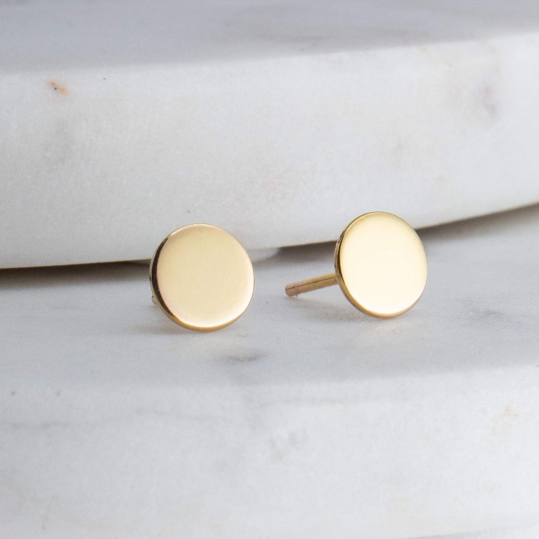 6mm Tiny Minimalist Stud Earrings Flat Disc 14K Gold Filled Earrings