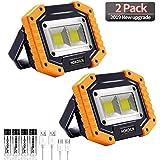 LED Work Light, 2 Pack HOKOILN 2 COB 30W 1500LM Rechargeable Work Light, LED Portable Waterproof LED Flood Lights for…
