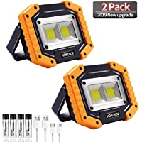 LED Work Light, HOKOILN 2 COB 30W 1500LM Rechargeable Work Light, LED Portable Waterproof LED Flood Lights for Outdoor…