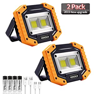 LED Work Light, HOKOILN 2 COB 30W 1500LM Rechargeable Work Light, LED Portable Waterproof LED Flood Lights for Outdoor Camping Hiking Emergency Car Repairing and Job Site Lighting (2 Pack)