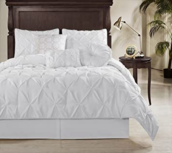 chezmoi collection sydney 7 piece pintuck duvet cover set queen white
