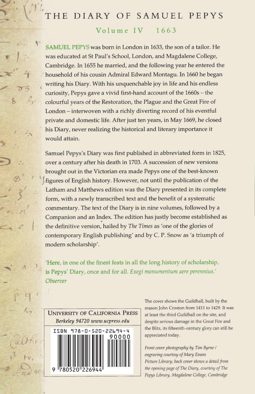 Amazon.com: The Diary of Samuel Pepys, Vol. 4: 1663 (9780520226944): Samuel  Pepys, Robert Latham, William Matthews: Books
