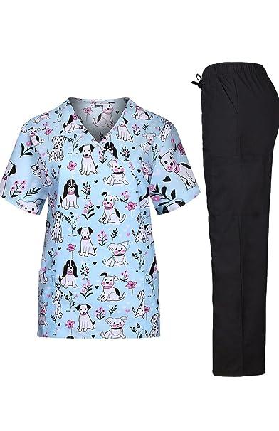 MedPro - Conjunto de uniforme médico, con camisa estampada cruzada y pantalones cargo, para
