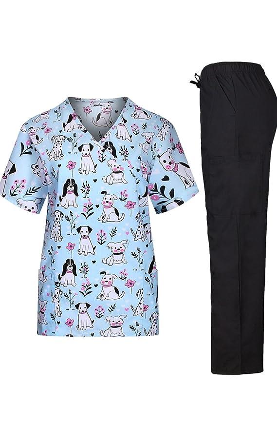 MedPro - Conjunto de uniforme médico, con camisa estampada cruzada y pantalones cargo, para mujer - Azul - Small: Amazon.es: Ropa y accesorios