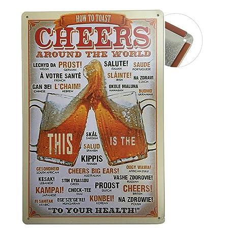 Cartel de chapa Vintage Placas Decorativas Póster Metal Pared Decoración de Arte para Cafe Bar Restaurante Pub Cocina, Serie de Cerveza (Cheers)