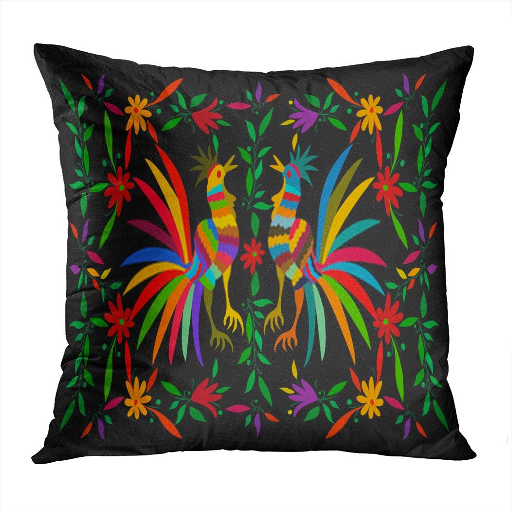 Sgvsdg Throw Pillow Covers Ethnic Mexican Tapestry Flower Roosters Jungle Naive Folk Latin Spanish Square Hidden Zipper Home Sofa Living Room Cushion Decor Pillowcases 16 x 16 Inch