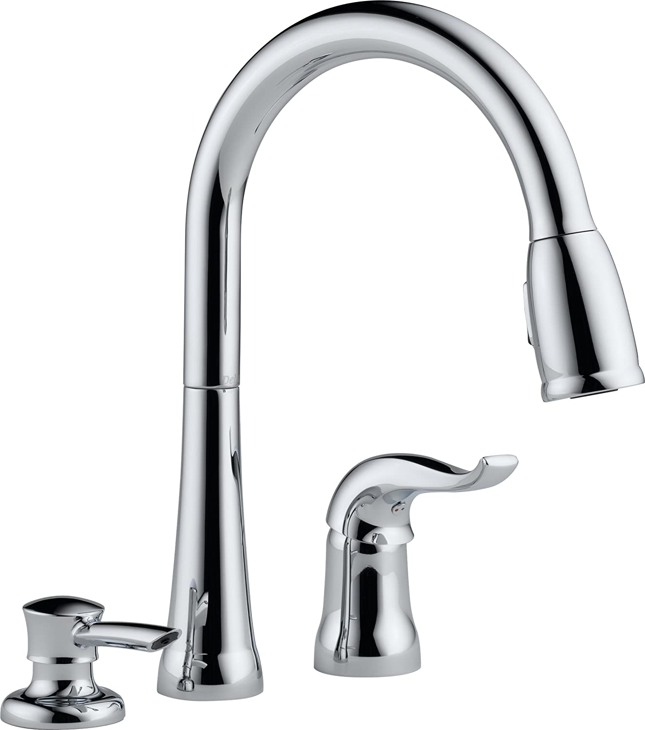 Delta 16970 SD DST Single Handle Pull Down Kitchen Faucet with Soap  Dispenser Chrome Touch On Sink Faucets Amazon com