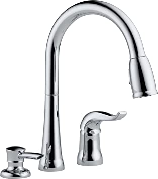 Delta 16970 SD DST Single Handle Pull Down Kitchen Faucet With Soap  Dispenser