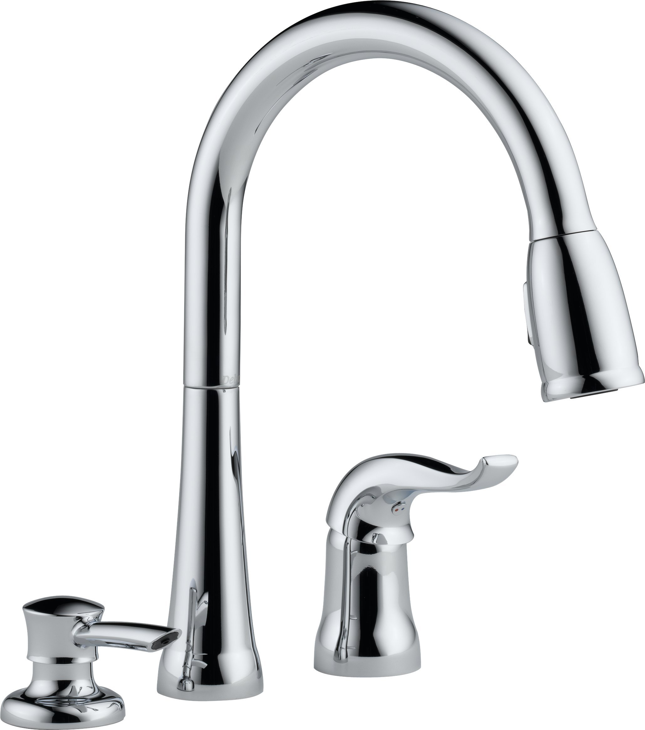 Delta 16970-SD-DST Single Handle Pull-Down Kitchen Faucet with Soap Dispenser, Chrome
