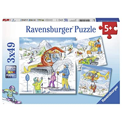 Ravensburger 08052, Let's Go Skiing! 3 x 49 Piece Puzzles in a Box, 3 x 49 Piece Puzzles for Kids, Every Piece is Unique, Pieces Fit Together Perfectly: Toys & Games