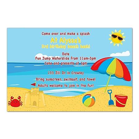 30 invitaciones personalizadas para la playa, verano ...
