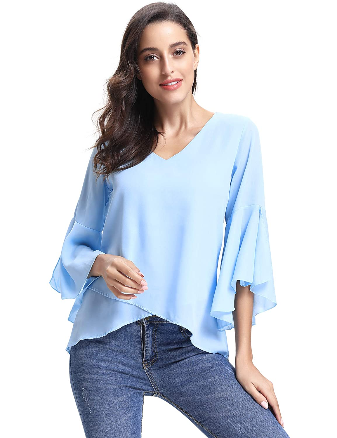 Abollria Women V Neck 3/4 Bell Sleeve Solid Casual Loose Chiffon Blouse Shirt