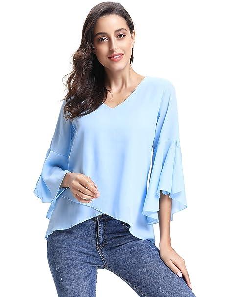 ef75ea66cba77 Abollria Camisa Elegante para Mujer Mangas Largas y Cuello V Blusas Verano para  Mujer