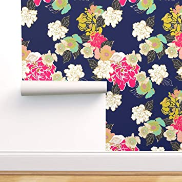 Spoonflower Peel And Stick Removable Wallpaper Floral Garden Blue Jungle Passion Navy Large Scale Print Self Adhesive Wallpaper 12in X 24in Test Swatch Amazon Com
