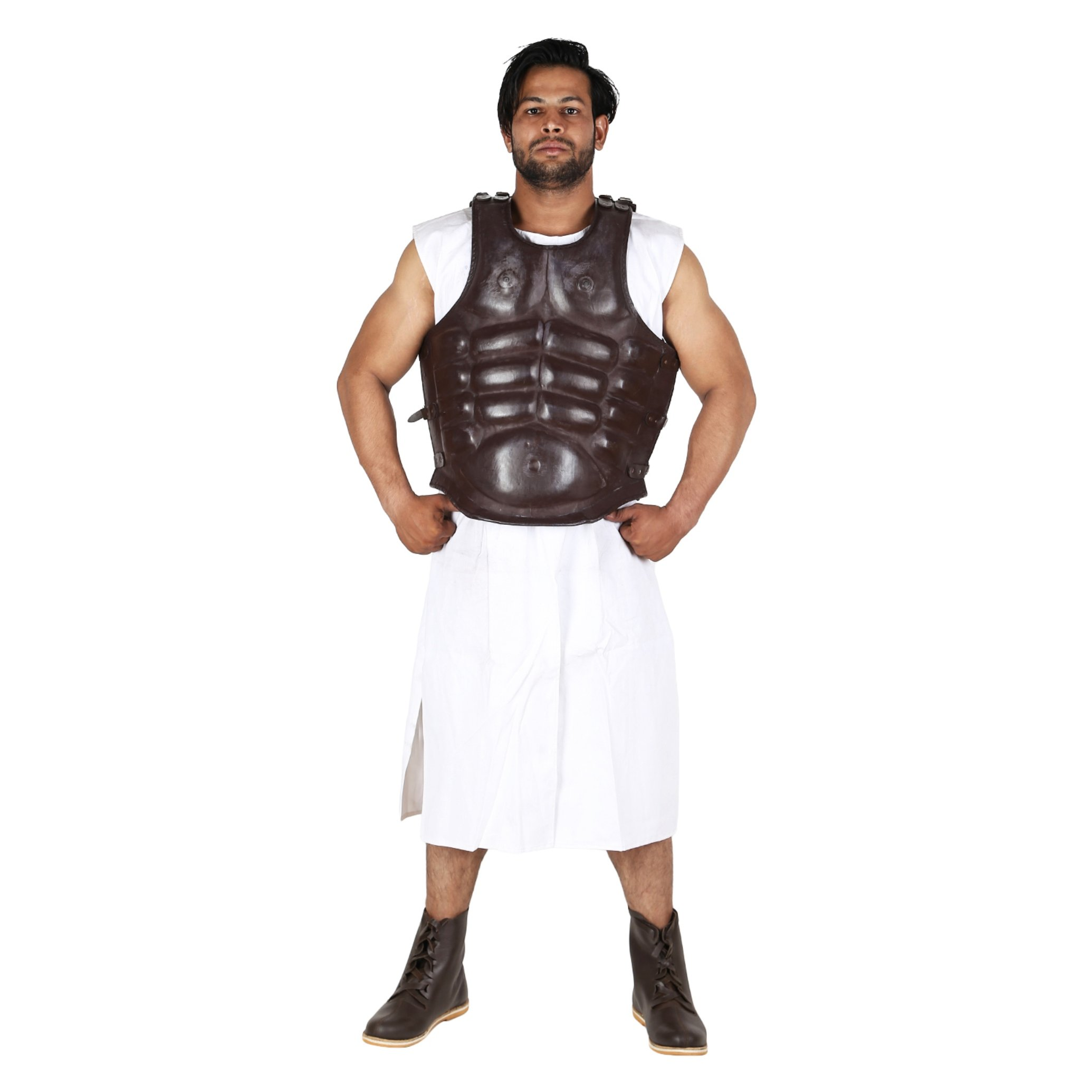 Roman Greek Leather Muscle Body Armor Cuirass reenactment Jacket Dark Brown by Medieval Edge