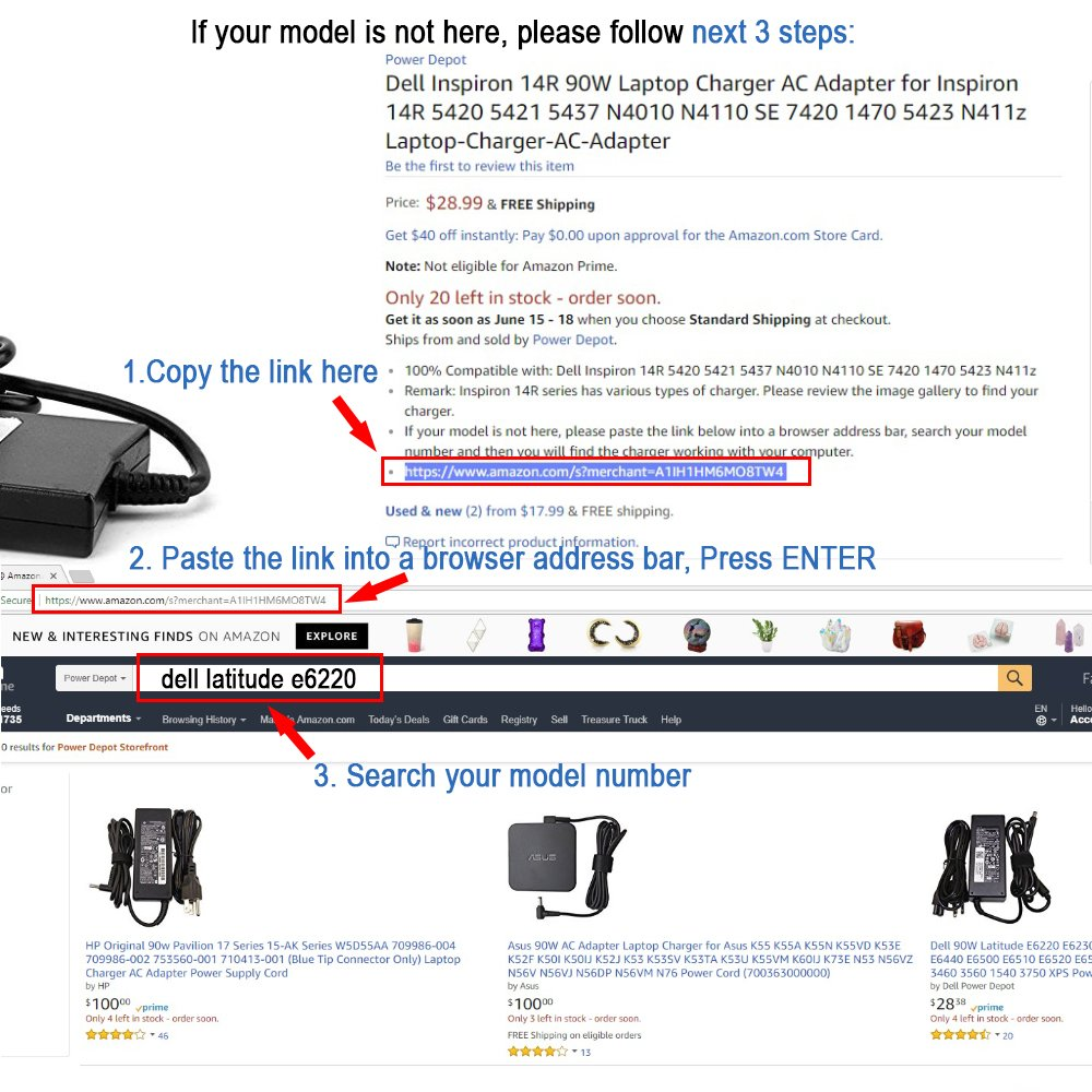 Desktop Inspiron One 24 2020 2305 3464 5488 Laptop Charger AC Adapter Power Cord 65W by Power Depot (Image #5)