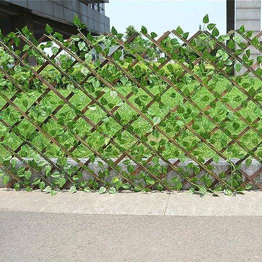 Sliveal Cerca Extensible Cerca de Planta de Cerca de jardín de Vid Artificial Pantalla de privacidad protección UV Cerca del jardín Patio Trasero decoración del hogar Paredes Verdes 40 cm Custody: Amazon.es: