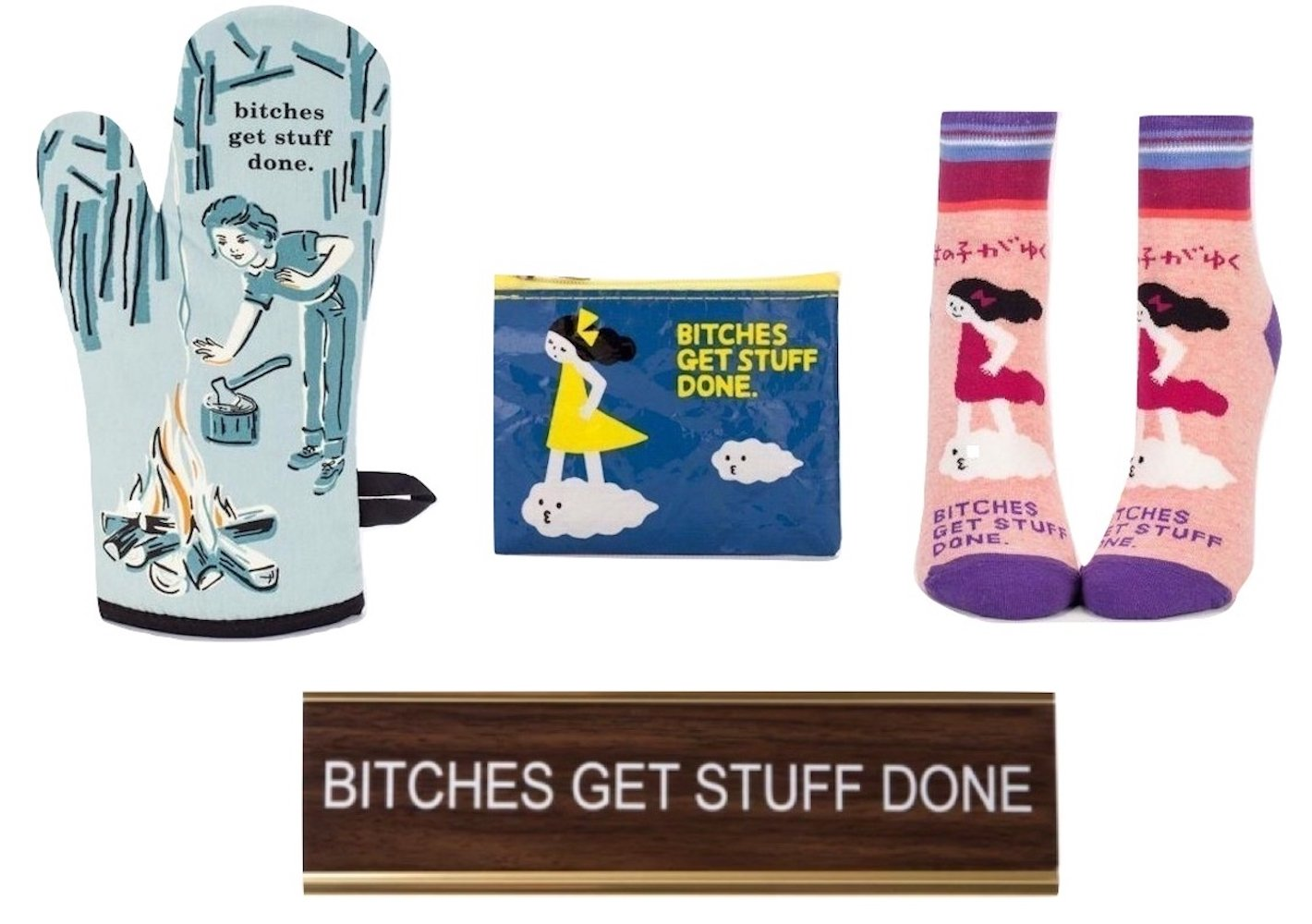 Btches Get Stuff Done Gift Set Bundle with Oven Mitt, Women's Ankle Socks, Coin Purse, and Nameplate Desk Sign by Get Bullish