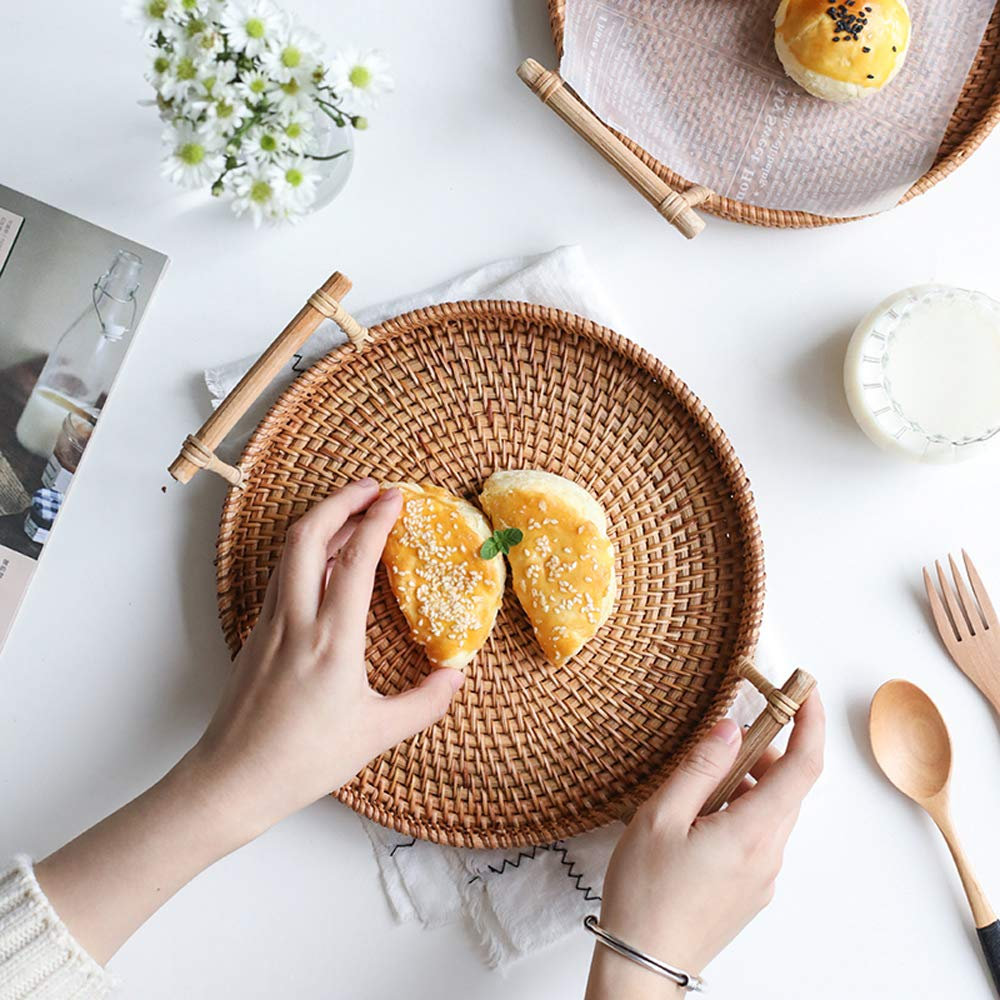 FREELOVE Manual Rattan Bread Basket/Fruit Tray, Round (8.6 in. + 9.4 in.) by FREELOVE (Image #6)
