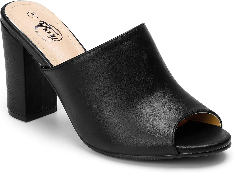 Trary Women's Chunky High Heel Mules