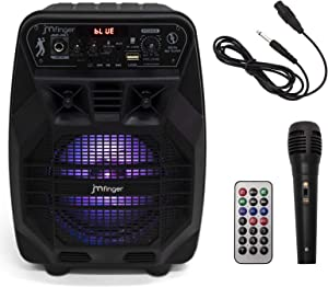 JMFinger Portable Bluetooth Karaoke Machine for Kids & Adults, Wireless PA Loudspeaker System with Colorful LED Light,FM Radio, Audio Recording,Remote Control, Supports TF Card/USB, AUX-IN